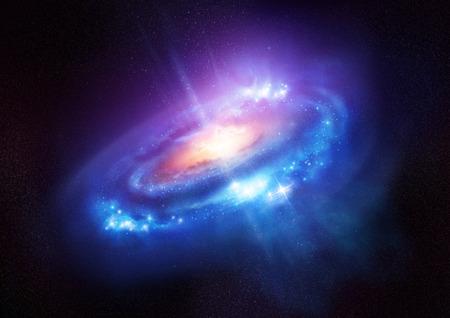 estrella de la vida: Una hermosa galaxia luminosa, con miles de millones de estrellas y un agujero negro en su centro en el espacio profundo. Ilustración.