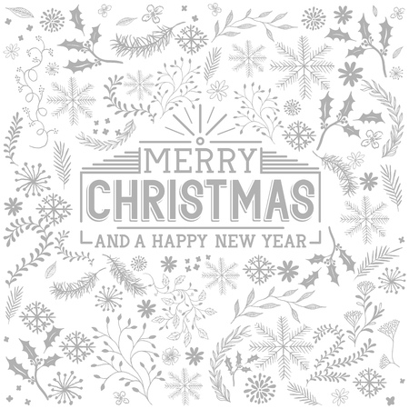 Floral Christmas Elements - christmas vector. Vector Illustration