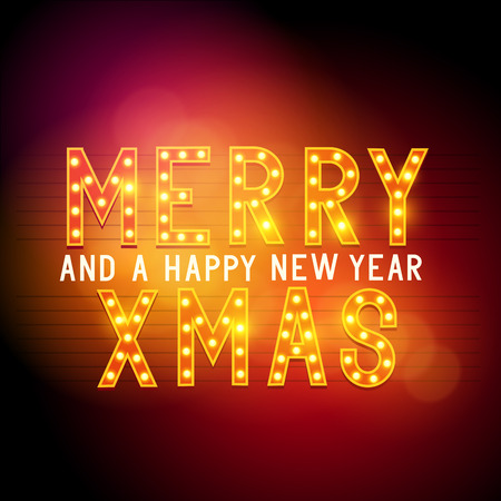 glamorous: Merry Christmas Message Sign, glamorous theatre text. Vector illustration