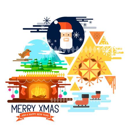 seasons greetings: Seasons Greetings! Design piatto elementi di Natale con Babbo Natale, pattinaggio su ghiaccio, un Natale camino e paesaggio invernale! Illustrazione vettoriale.