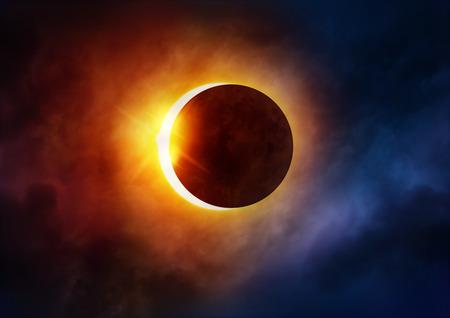 sol y luna: Eclipse Solar. La luna se mueve delante del sol. Ilustración