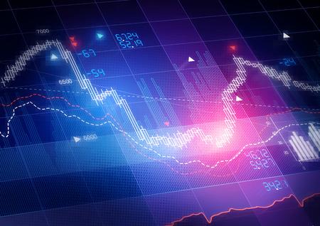 Beurskoersen. Kaarsstok beurs volgen grafiek. Stockfoto