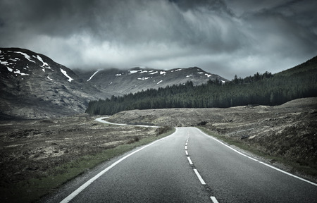 mountain range: Road into Mountain Range, Scotland, UK