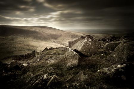 rugged terrain: A dark and moody Moorland landscape. Stock Photo