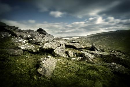 rugged terrain: Wild Landscape, rugged rocks on Dartmoor,UK.