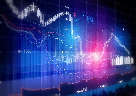 株式市場のグラフ - キャンドル スティック株式市場追跡グラフ。