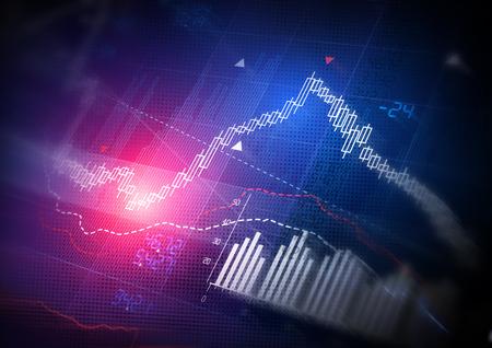 株式市場データ。キャンドル スティック株式市場追跡グラフ。