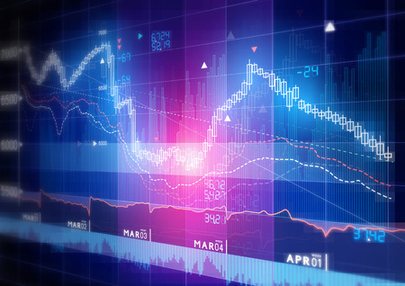 stock price: Stock Market Graph -  Candle stick stock market tracking graph. Stock Photo