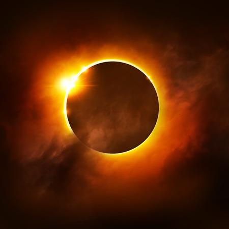 日図の皆既日食。