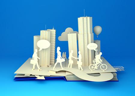 ポップアップ本 - 都市生活。忙しい都会の人々 が彼らのビジネスについて行くとスタイルの 3 D ポップアップ本都市。