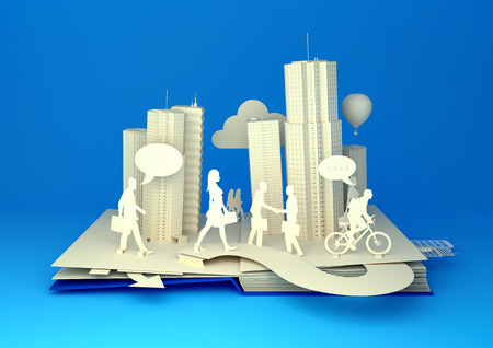 open  women: Pop-Up Book - City Lifestyle. Styled 3D pop-up book city with busy urban city people going about their business.