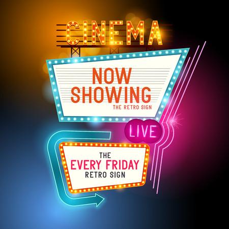 Iniciar Showtime retro. Teatro signo cine retro con letreros de neón que brillan intensamente. Ilustración del vector.