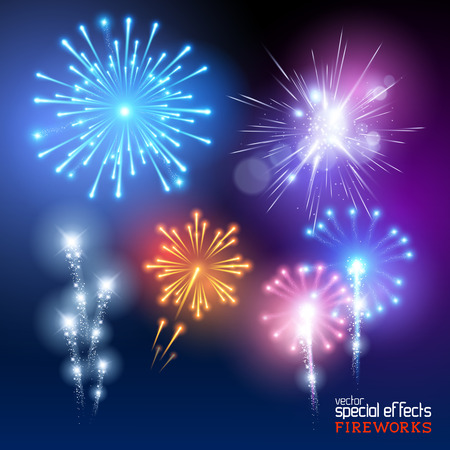 Vector Firework Collection. A set of various firework display effects. Vector illustration.
