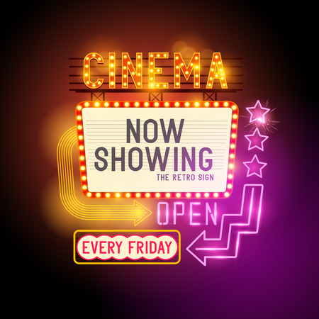 teatro: Iniciar Showtime retro. Teatro signo cine retro con letreros de neón que brillan intensamente. Ilustración del vector.
