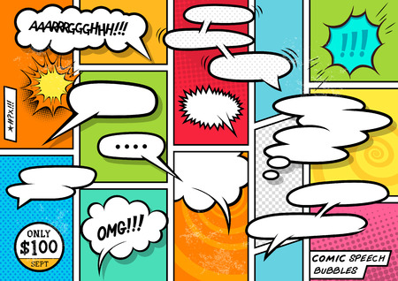 book: Comic Book Speech Bubbles. A set of colourful and retro comic book design elements with speech bubbles! Vector illustration.
