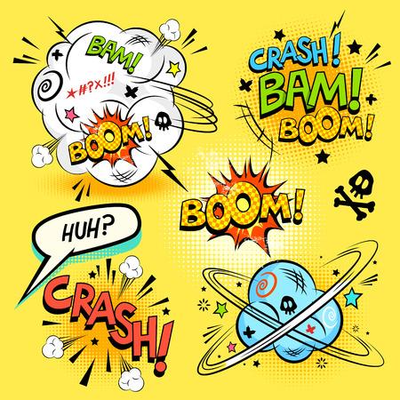 comico: Comic Book Acciones - Una colecci�n de acciones de dibujos animados de historietas y elementos de dise�o. Ilustraci�n vectorial