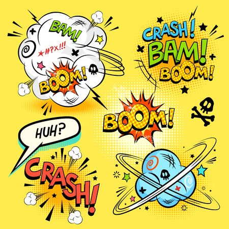 word: Comic Book Actions - A collection of comic cartoon actions and design elements. Vector illustration