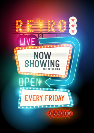 Retro Showtime Sign. Theater Cinema retro teken met gloeiende neonreclames. Vector illustratie.