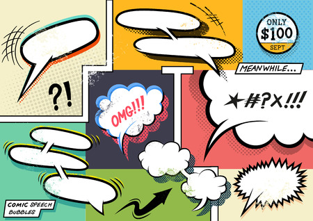 comic strip: Vintage Comic Book Speech Bubbles. A set of colourful and retro comic book design elements with speech bubbles! Vector illustration.
