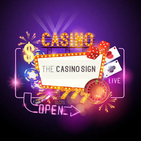 signpost: Casino Party Vector - Role the dice - Win big! Casino vector illustration design with poker, playing cards, slots and roulette. Glowing Casino sign. Layered illustration. Illustration