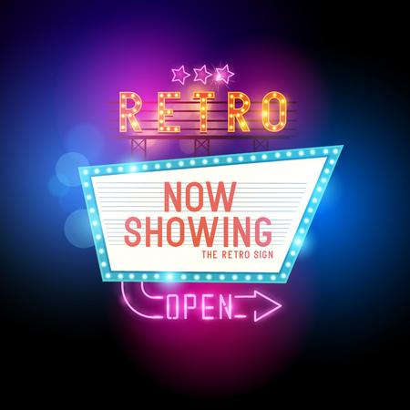 retros: Iniciar Showtime retro. Teatro signo cine retro con letreros de neón que brillan intensamente. Ilustración del vector.