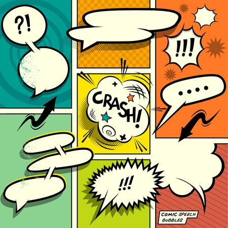 comic graphic: Comic Book Speech Bubbles. A set of colourful and retro comic book design elements with speech bubbles! Vector illustration.