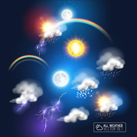 Modernos Símbolos de tiempo, incluyendo un arco iris, las nubes de tormenta sol y la luna. Ilustración del vector.
