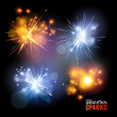 llamas de fuego: Sparks Vector. Un conjunto de vecotr chispas eléctricas e incendios. Ilustración del vector. Vectores