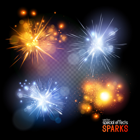 Vector Sparks. A set of vecotr electrical and fire sparks. Vector illustration.