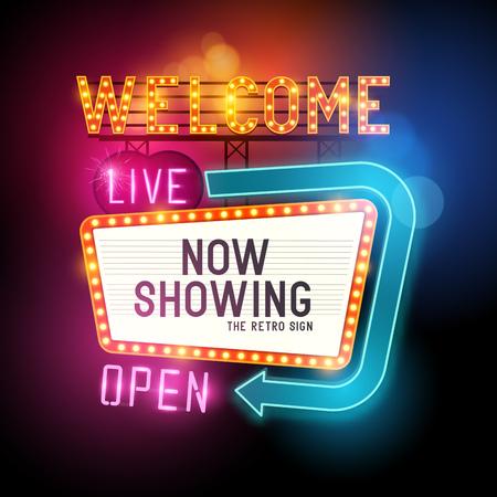 teatro: Iniciar Showtime retro. Teatro Cine sesión con letreros de neón que brillan intensamente. Ilustración del vector.