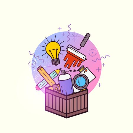 art contemporary: Box of Creative Items. A toolbox filled with design and creative items. Vector illustration.