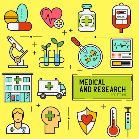 vector studies: Medical and Research Icon Set. A collection of medical icons including, equipment, people and medical tools.