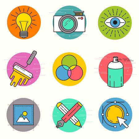 pensamiento creativo: Creativo Vector Icon Set. Una colección de iconos de diseño temático de línea, incluyendo herramientas de arte, diseño digital y producción creativa. Ilustración en capas vectoriales. Vectores