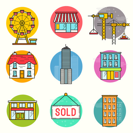 scrapers: Urban building Vector Icon Set. A collection of buildings including a ferris wheel, house, sky scrapers and shop stores. Layered Vector illustration. Illustration