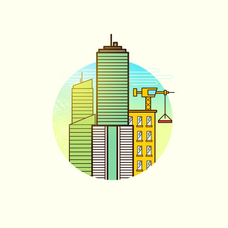 developing: Developing City Vector. Construction and real estate vector illustration symbol.