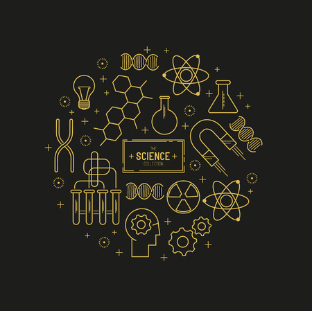 gene: Science Vector Icon Set. A collection of gold science themed line icons including a atom, chemistry symbols and equipment. Layered Vector illustration. Illustration
