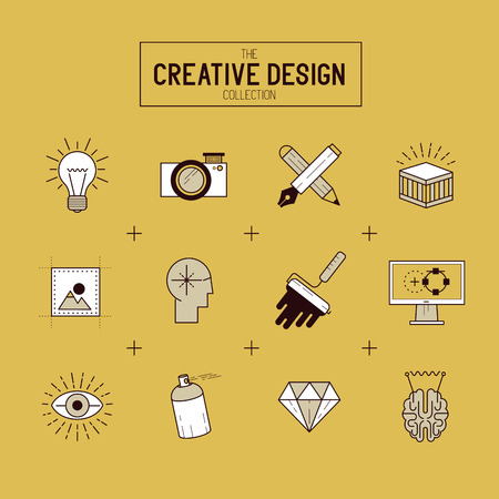 creative tools: Creative Vector Icon Set. A collection of Gold design themed line icons including art tools, digital design and creative production. Layered Vector illustration.