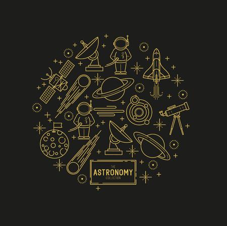 astronomie: Astronomie Gold-Vektor-Icon-Set. Eine Sammlung von Raum Motto Linie Symbole einschließlich eines Planeten, Rakete, Raumfahrer und Sonnensystem. Vektor-Illustration.