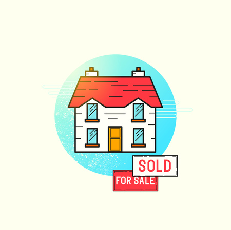 sold sign: Moving Home Icon Vector. A detached house with for sale and sold sign posts. vector illustration