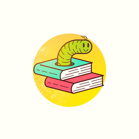 Book Worm Vector. Education and learning. A happy worm munching through books and information! Vector illustration.
