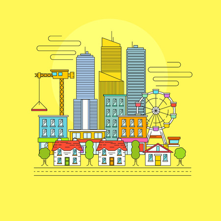 busy city: Vector Cityscape. A busy city scene with skyscrapers, retail shops and town houses. Vector illustration Illustration