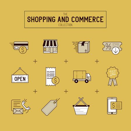 retail shop: Shopping And Retail Icon Set. A collection of gold commerce icons including a shop, transactions and delivery. Vector illustration. Illustration