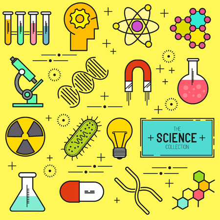 bacteria microscope: Science Vector Icon Set. A collection of science themed line icons including a atom, chemistry symbols and equipment. Layered Vector illustration. Illustration