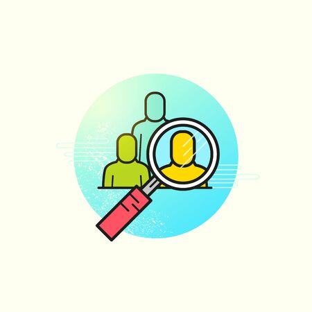 headhunting: Headhunting Business Vector. A magnifying glass highlighting a team member. Vector illustration Illustration