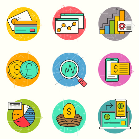 multitasking: Business and Investment Vector.  A collection of business and financial themed line icons including charts, financial elements and production. Layered Vector illustration.
