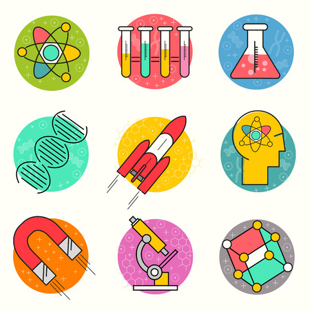 themed: Science Vector Icon Set. A collection of gold science themed line icons including a atom, chemistry symbols and equipment. Layered Vector illustration. Illustration