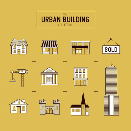 sky scraper: Urban building Vector gold Icon Set. A collection of buildings including a church, house, sky scraper and shop stores. Layered Vector illustration.