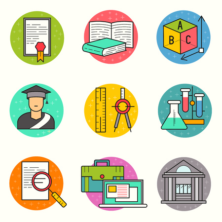 qualify: Education Vector Icon Set. a collection of study and research symbols including objects and tools. Vector illustration.