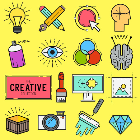 creative tools: Creative Vector Icon Set. A collection of design themed line icons including art tools, digital design and creative production. Layered Vector illustration.
