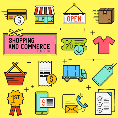 retail shopping: Shopping And Retail Icon Set. A collection of commerce icons including a shop, transactions and delivery. Vector illustration.